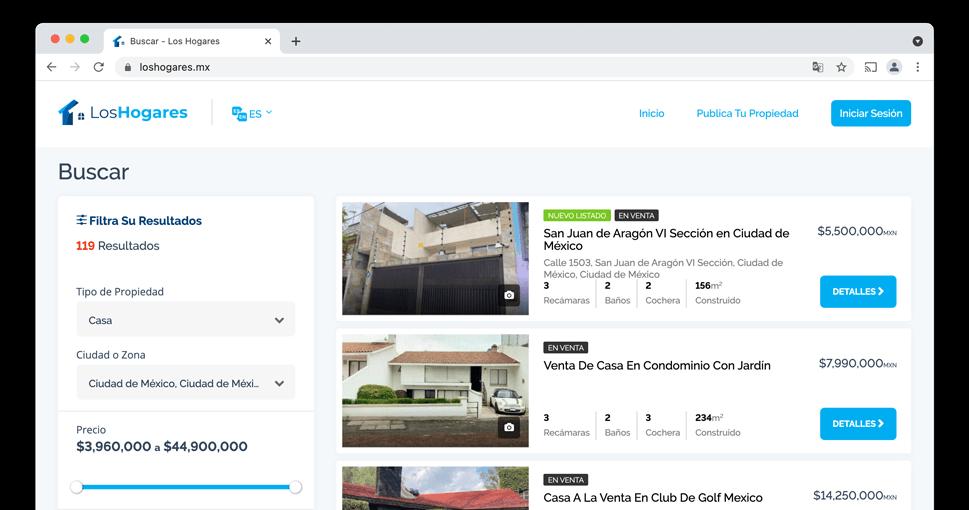 Página de búsqueda casa vendida en México